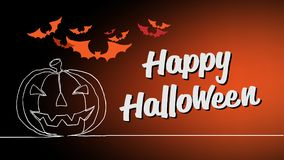 Счастливая каллиграфия оформления хеллоуина Сезонная литерность знамя дизайна плана предпосылки иллюстрация Стоковые Изображения
