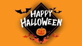 Счастливая каллиграфия оформления хеллоуина Сезонная литерность знамя дизайна плана предпосылки иллюстрация Стоковые Фото