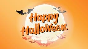 Счастливая каллиграфия оформления хеллоуина Сезонная литерность знамя дизайна плана предпосылки иллюстрация Стоковое Изображение