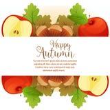 Счастливая канерейка яблока осени иллюстрация штока