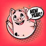 Счастливая карта года с милой свиньей в облаке рамки и текста Приветствовать плакат в стиле комиксов бесплатная иллюстрация