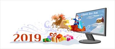 Счастливая карта Нового Года русское Санта иллюстрация штока