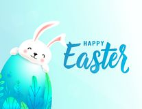 Счастливая карта пасхи с большой весной 3d выходит яйцо за которым усмехаясь милый кролик прячет Текст помечая буквами знак для иллюстрация штока