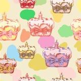 Счастливая картина пасхи безшовная с нарисованным рукой тортом пасхи также вектор иллюстрации притяжки corel Стоковое Фото