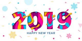 Счастливая карточка вектора отрезка бумаги Нового Года 2019 иллюстрация вектора