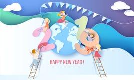 Счастливая карточка дизайна Нового Года 2019 с детьми иллюстрация вектора