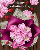 Счастливая карточка дня валентинки с вектором букета роз Винтажная коробка стиля Провансали Стоковая Фотография RF
