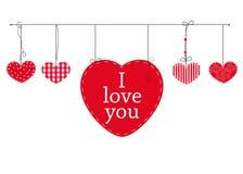 Счастливая карточка дня валентинок с сердцами валентинок влюбленности смертной казни через повешение vector предпосылка Я тебя лю Стоковые Изображения RF