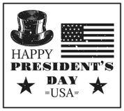 Счастливая карточка дня президентов в винтажном monochrome стиле Стоковые Изображения RF