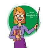 Счастливая карточка дня учителей иллюстрация штока