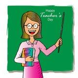 Счастливая карточка дня учителей иллюстрация вектора