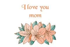 Счастливая карточка дня ` s мамы с азалией в стиле нарисованном рукой стоковая фотография rf