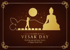 Счастливая карточка дня vesak с рождеством Будды золота, льет, знак нирваны и дизайн вектора времени полнолуния иллюстрация вектора