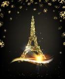 Счастливая карточка Нового Года над черной предпосылкой с золотыми искрами стоковое фото
