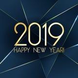 Счастливая карточка Нового Года 2019 с наградными полигональными треугольниками градиента и фольга текстурируют линии предпосылку иллюстрация штока