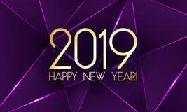 Счастливая карточка Нового Года 2019 с наградными полигональными треугольниками градиента и фольга текстурируют линии предпосылку бесплатная иллюстрация