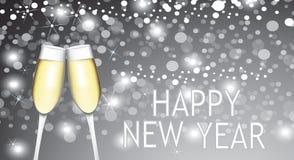 Счастливая карточка Нового Года с 2 стеклами шампанского бесплатная иллюстрация