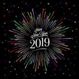 Счастливая карточка Нового Года с цветом Starburst иллюстрация штока