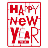 Счастливая карточка Новый Год. Typography помечает буквами набор вида шрифта Стоковое Изображение