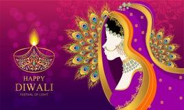 Счастливая карточка фестиваля Diwali иллюстрация штока