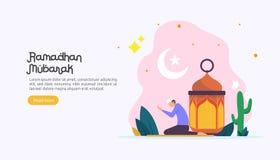 счастливая концепция приветствию ramadan mubarak с характером людей для шаблона страницы посадки сети, знамени, представления, со иллюстрация вектора