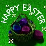 Счастливая корзина яйца пасхи сияющая иллюстрация вектора