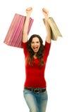 Счастливая красивейшая покупка женщины Стоковые Изображения