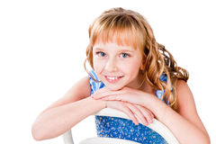 Счастливая красивейшая предназначенная для подростков девушка изолированная на белизне Стоковые Фото