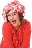 счастливая красная женщина Стоковые Изображения