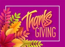 Счастливая литерность благодарения с бумажными лист осени также вектор иллюстрации притяжки corel Иллюстрация штока