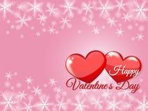 Счастливая литерность дня Валентайн на красном цвете диеза сердца со снегом и розовой предпосылкой r Элементы дизайна для запрета иллюстрация штока