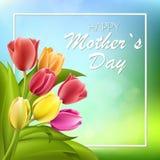 Счастливая литерность дня матерей Поздравительная открытка дня матерей с зацветая тюльпаном цветет Иллюстрация EPS10 вектора Стоковая Фотография