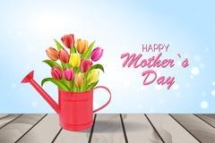 Счастливая литерность дня матерей Поздравительная открытка дня матерей с зацветая тюльпаном цветет Иллюстрация EPS10 вектора Стоковые Фото