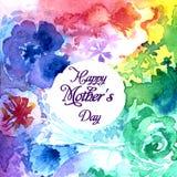 Счастливая литерность дня ` s матери на предпосылке акварели бесплатная иллюстрация