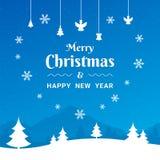 Счастливая литерность Нового Года на голубой расплывчатой предпосылке вектора с sparkles бесплатная иллюстрация