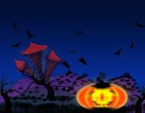 Счастливая литерность хеллоуина на страшном старом кладбище с холодной синью иллюстрация вектора
