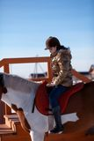 Счастливая лошадь катания девушки Стоковое Изображение RF