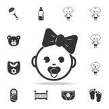 Счастливая маленькая девочка, значок сети Комплект значков игрушек ребенка и младенца Графический дизайн значков сети наградной к Стоковые Изображения