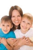 Счастливая мама с 2 дет Стоковое Фото