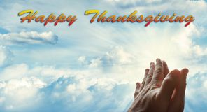 Счастливая молитва благодарения Стоковое Фото
