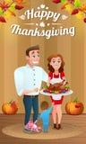 Счастливая молодая семья с испеченной Турцией на благодарении иллюстрация штока