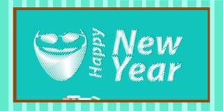 Счастливая надпись Нового Года с santa иллюстрация вектора