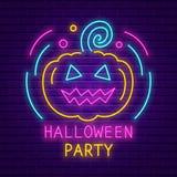 Счастливая неоновая вывеска партии хеллоуина Яркое светлое знамя иллюстрация вектора