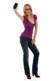 счастливая новая женщина телефона Стоковые Изображения RF