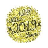 Счастливая новая карта 2019 год, золотая сверкнает и вручает написанную литерность бесплатная иллюстрация