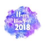 Счастливая Нового Года акварели вектора поздравительная открытка 2018 Стоковые Фото