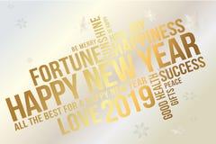 Счастливая Нового Года поздравительная открытка 2019 Желает каждый успех, счастье, утеху, самое лучшее всего, здоровье, любовь бесплатная иллюстрация