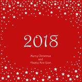 Счастливая Нового Года поздравительная открытка 2018 зима снежка праздника приветствию рождества карточки предпосылки Стоковое Фото