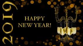Счастливая Нового Года поздравительная открытка 2019 бесплатная иллюстрация