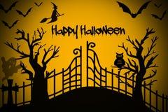 Счастливая ноча хеллоуина с ведьмой, деревом, летучими мышами на черной и оранжевой предпосылке иллюстрация штока